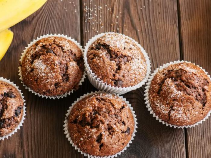 Cupcakes veganos de cacao y plátano ¡Muy nutritivos!
